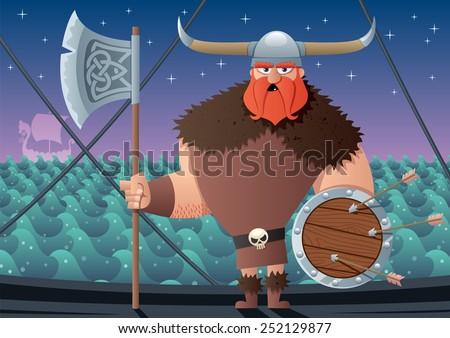 Cartoon Viking on board of Viking ship. No transparency used. Basic (linear) gradients. - stock vector