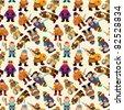 cartoon vikings pirate seamless pattern - stock vector