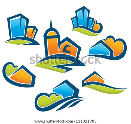 cartoon village, vector collection of building and landscape symbols - stock vector