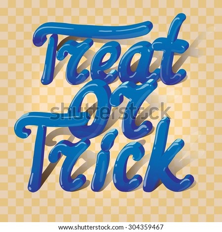 Cartoon volumetric words trick or treat on plaid background. Can be used for halloween greeting cards. Vector illustration. EPS 10.  - stock vector