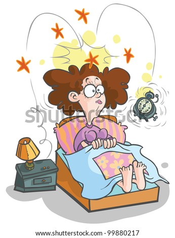 Cartoon waking-up Woman. - stock vector