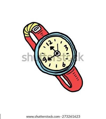 cartoon watch in doodle style - stock vector