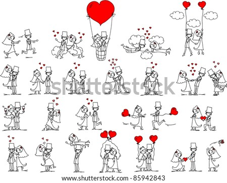 cartoon wedding pictures - stock vector