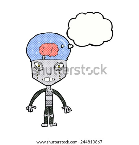 cartoon weird robot with thought bubble - stock vector