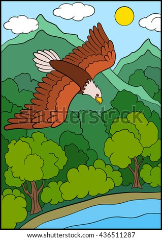 Cartoon wild birds for kids: Eagle. Cute eagle flies under the forest and smiles. - stock vector