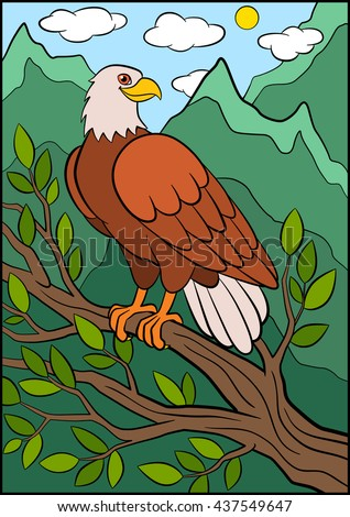 Cartoon wild birds for kids: Eagle. Cute eagle sits on the tree branch and smiles. - stock vector
