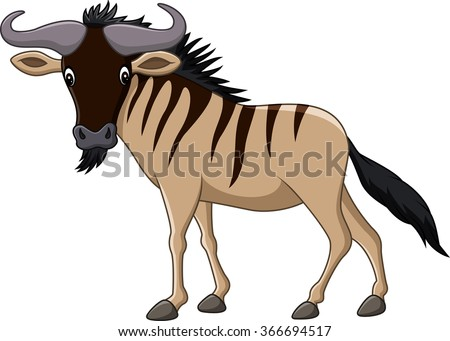 Cartoon wildebeest mascot isolated on white background - stock vector