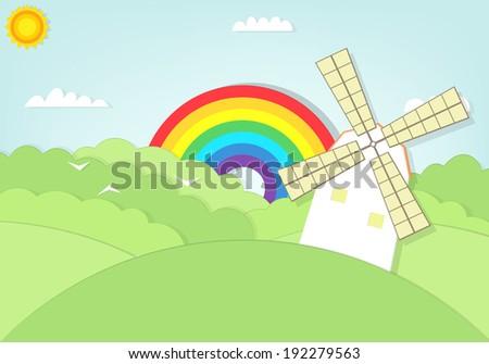 cartoon windmill in a grass field vector illustration - stock vector