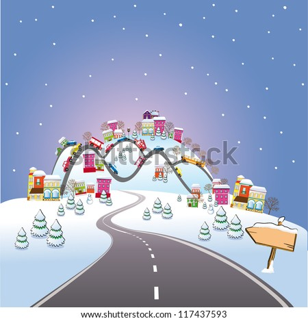 Cartoon winter city - stock vector