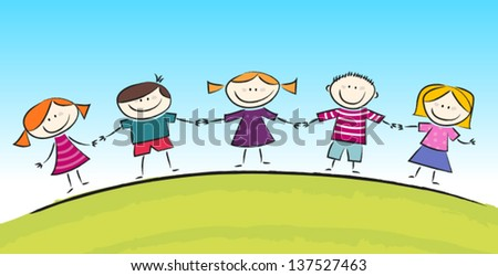 Cartoon with Cute Smiling Kids - stock vector