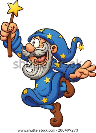 Cartoon wizard with magic wand. Vector clip art illustration with simple gradients. All in a single layer. - stock vector