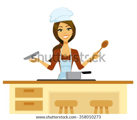 Cartoon woman cooking in a chef's hat and apron holding a wooden spoon and checking a pot. - stock vector