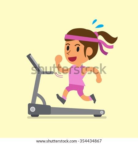 Cartoon woman running on treadmill - stock vector