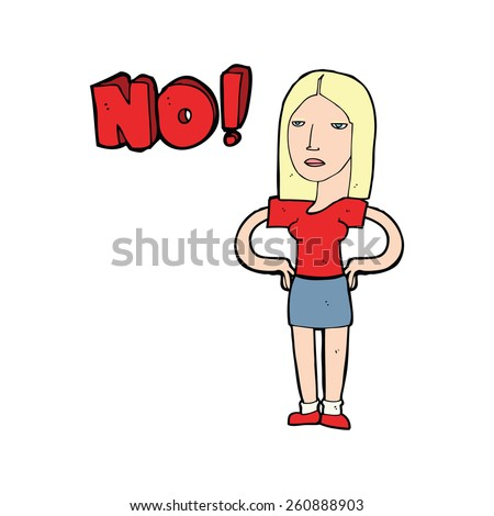 cartoon woman saying no - stock vector