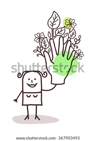 cartoon woman with one big green hand - stock vector