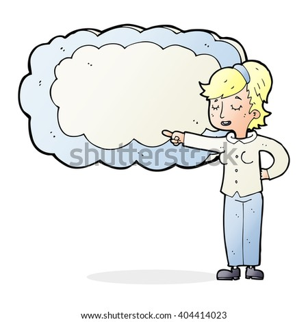 cartoon woman with text space cloud - stock vector