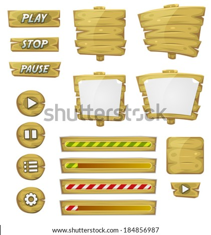Cartoon Wood Elements For Ui Game/ Illustration of a set of various cartoon design ui game wooden elements including banners, signs, buttons, load bar and app icon background - stock vector