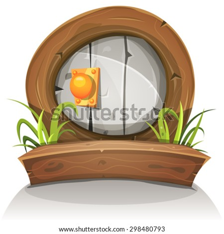 Cartoon Wooden And Stone Rounded Door For Ui Game/ Illustration of a cartoon comic dwarf like funny rounded stone door with wooden doorframe for fantasy ui game - stock vector