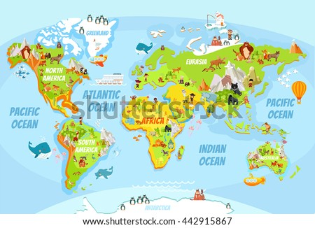 Cartoon world map with a lot of funny animals,sea creatures,various landscapes and peoples of various nationalities.Great for kids design,educational game,magnet or poster design.Vector illustration - stock vector