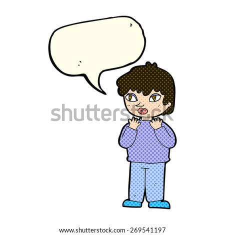 cartoon worried person with speech bubble - stock vector
