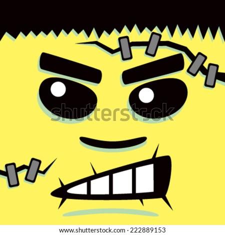 Cartoon Yellow Frank Face - stock vector