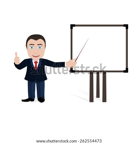 Cartoon young businessman pointer points to an empty board. - stock vector