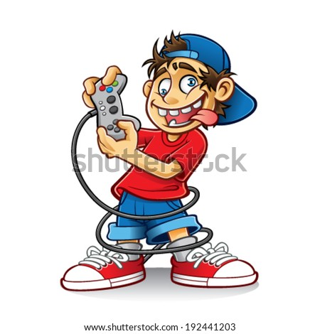 cartoon young people are playing games with the crazy eyes and sticking out his tongue - stock vector