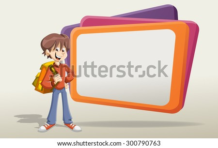 Cartoon young student boy with backpack in front of big screen. - stock vector