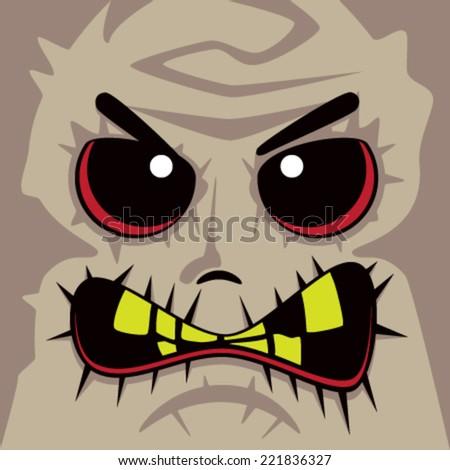 Cartoon Zombie Face - stock vector