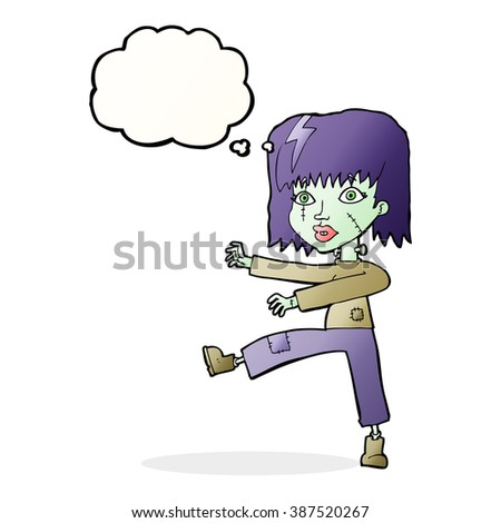 cartoon zombie girl with thought bubble - stock vector