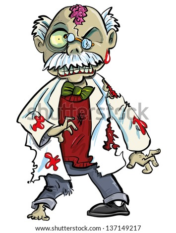 Cartoon zombie scientist with brains showing. Isolated on white  - stock vector