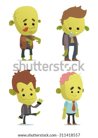 Cartoon Zombies - stock vector
