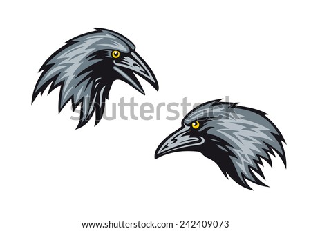 Cartooned blackbirds, jackdaws or ravens in profile with sharp beaks and yellow eyes - stock vector