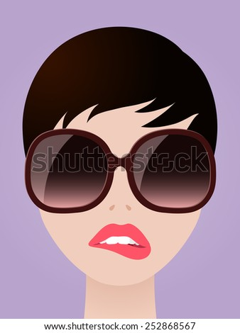 Cartooned Graphic Design of a Short Hair Woman with Eyeglasses Biting her Lips on Light Violet Background - stock vector