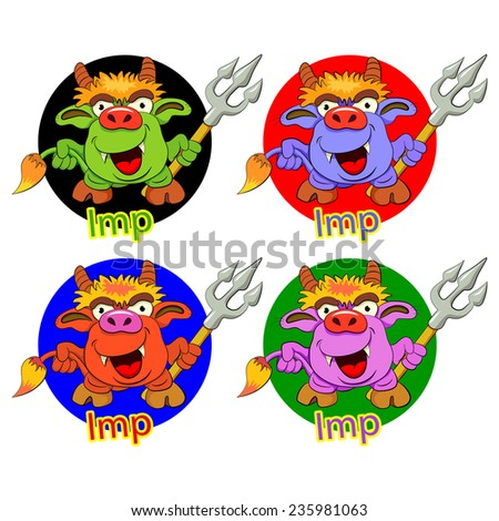 Cartoons funny imp with a trident in a hand. Four color options. - stock vector