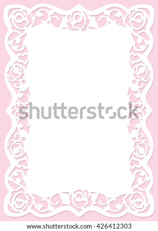Carved Greeting Card Pattern with roses and hearts. The cutout template is suitable for greeting cards, invitations, etc. The picture suitable for laser cutting or printing. Vector. - stock vector