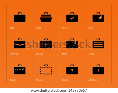 Case icons variants of briefcase on orange background. Vector illustration. - stock vector