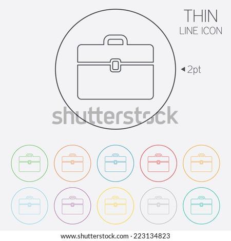 Case sign icon. Briefcase button. Thin line circle web icons with outline. Vector - stock vector