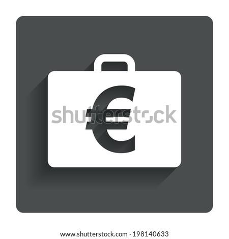 Case with Euro EUR sign icon. Briefcase button. Gray flat button with shadow. Modern UI website navigation. Vector - stock vector