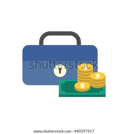 Cash box icon with money  - stock vector