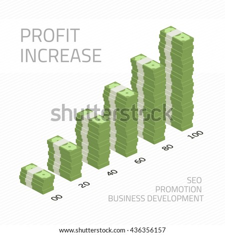 Cash flow graph. Market growth concept. Vector illustration of big stacked pile of cash. Hundreds of dollars. Modern design isolated on white background. Modern currency concept profit growth. - stock vector