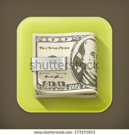 Cash folded in a money clip - stock vector