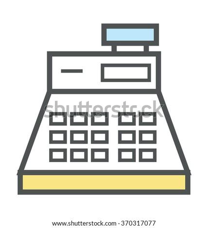 Cash Register Flat Icon Illustration - stock vector