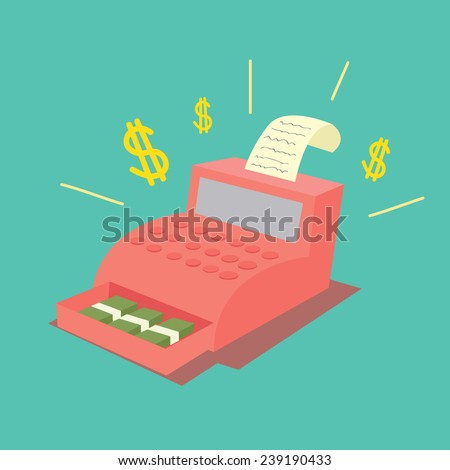 Cash Register Machine - stock vector