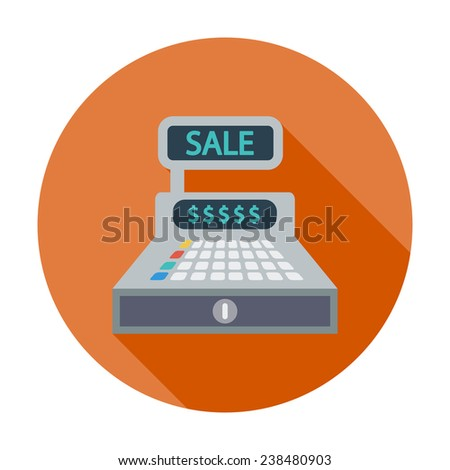 Cash register. Single flat color icon. Vector illustration. - stock vector