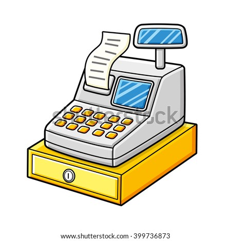 Cash register with a receipt and a cash box. - stock vector