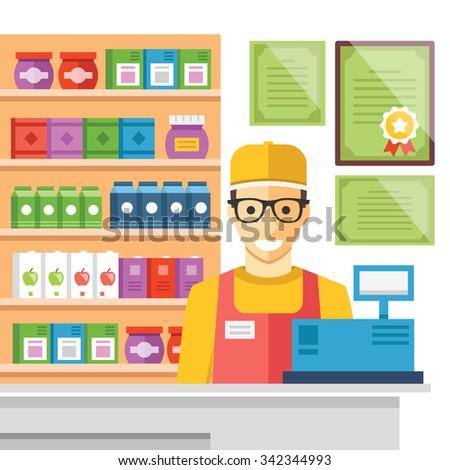 Cashier man at supermarket checkout. Supermarket store counter desk, cash register, certificates, shelves with food. Flat design concept for web banners, web sites infographics. Vector illustration - stock vector