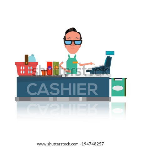 cashier man prepares purchasing at supermarket - stock vector