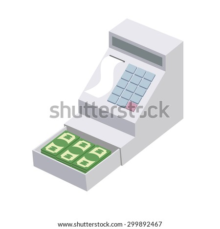 Cashier. Open a cash register with a lot of dollars. Seller box for storing money. Vector illustration - stock vector