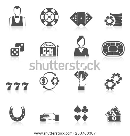 Casino and gambling icon black set with slot machine chip card isolated vector illustration - stock vector